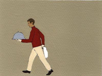 Nando Crippa cartolina disegno cameriere