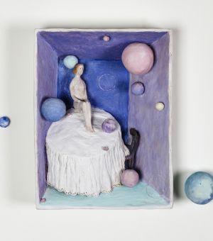 Pino Deodato L'universo nel cassetto terracotta policroma
