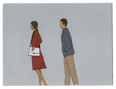 Nando Crippa cartolina disegno lui e lei