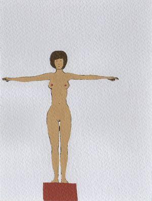 Nando Crippa cartolina disegno vigilessa