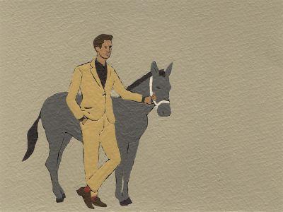 Nando Crippa cartolina disegno uomo e cavallo