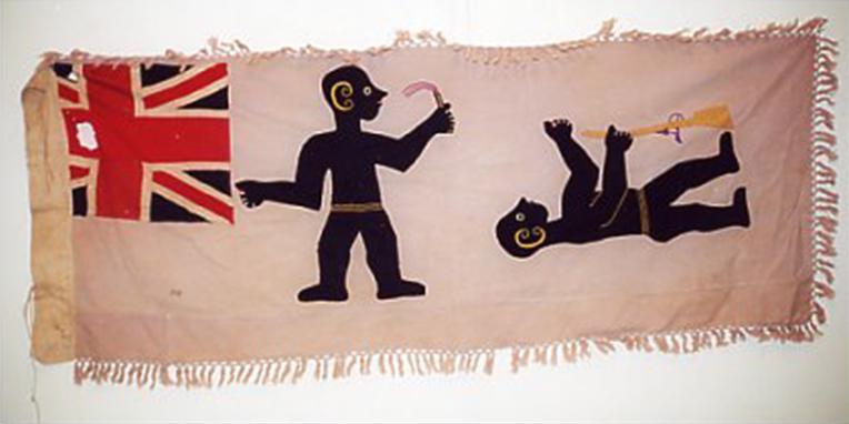 Bandiera Asafo rosa del Ghana con persone