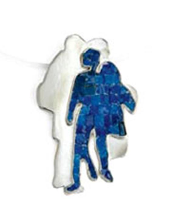 Gioiello argento e micromosaico vetri blu