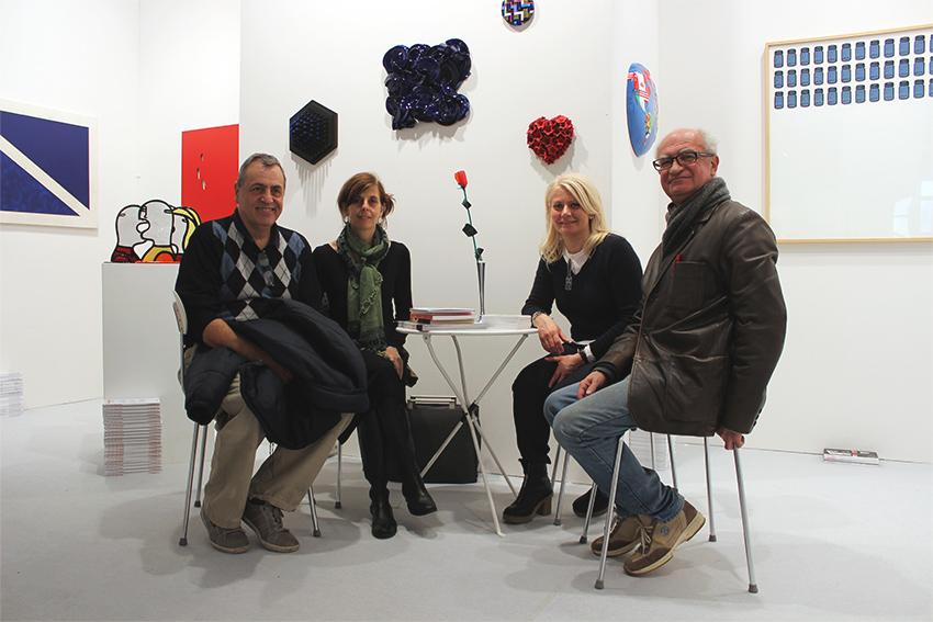 Gianni Cella, Matilde Domestico, Sabina Melesi e Corrado Bonomi alla fiera BAF 2016 nello Stand di Galleria Melesi