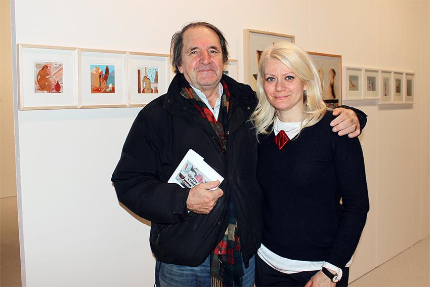 Enzo Forese con Sabina Melesi alla fiera BAF 2016 nello Stand di Galleria Melesi