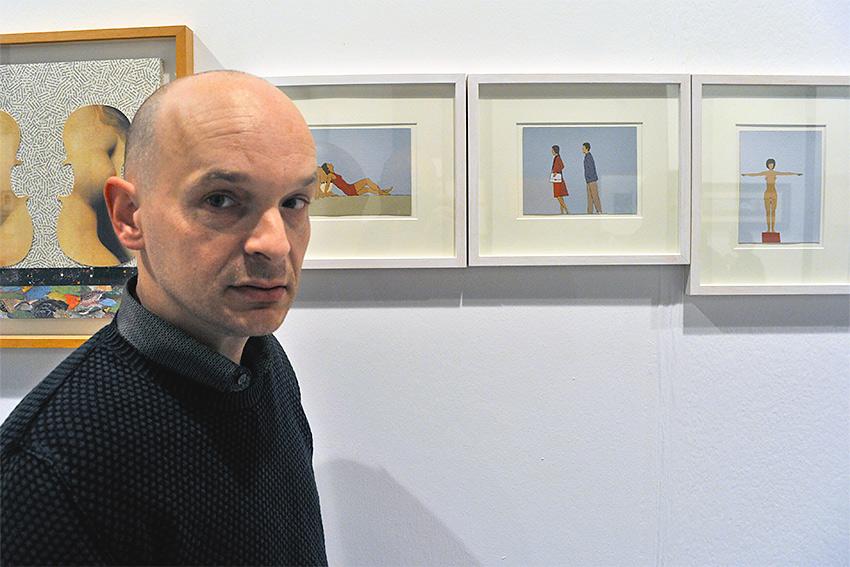 Nando Crippa con le sue opere alla fiera BAF 2016 nello Stand di Galleria Melesi