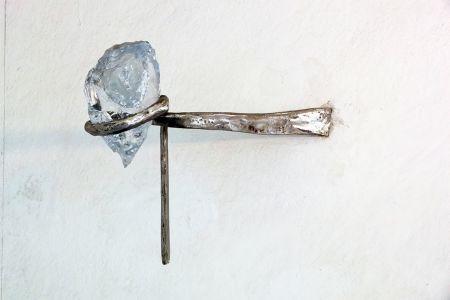 Eduard Habicher acciaio vetro Murano scultura trasparente