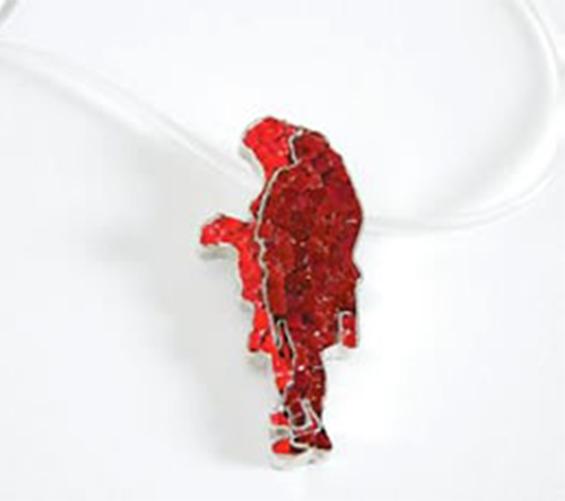 Gioiello argento e micromosaico vetri rossi